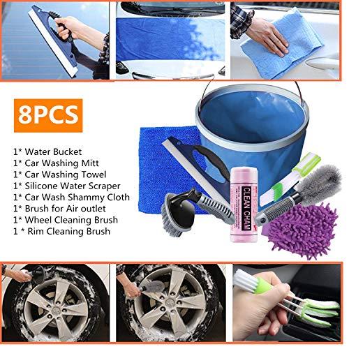 Kit de lavado de coche, 8 piezas, herramientas de limpieza de coche para motocicletas, manopla de lavado, toalla de absorción de agua, paño de microfibra, rasqueta, cepillo, cubo de agua