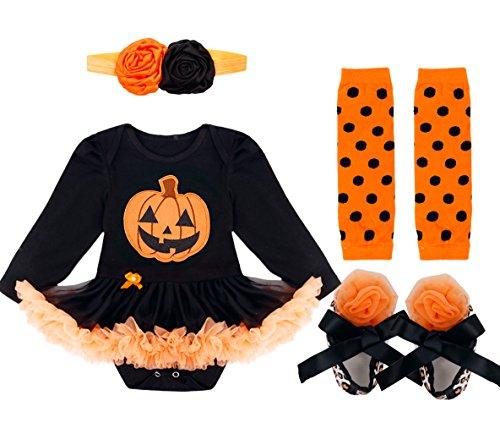 YiZYiF Neugeborenes Baby Mädchen Bekleidungsset Outfits Kürbis Halloween Kostüm Kurzarm Strampler Overall mit Tütü Röckchen + Stirnband + Beinwärmer + Schuhe (0-3 Monate, Stil 2 (Langarm))