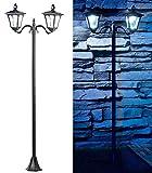 Royal Gardineer Solarlaterne: Solar-LED-Gartenlaterne, 2 flammig, PIR- & Dämmerungssensor, 200 Lumen (Parkleuchte)
