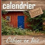 Calendrier cabane en bois: petites maisons | Livre mural mensuel | Jours fériés, notes et éphéméride