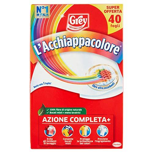 Grey L'Acchiappacolore Fogli Cattura Colore Lavatrice Evita Incidenti Lavaggio, 40 Pezzi