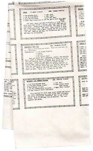 artgoodies Entree Retro Recipe All Over Pattern Organic Block Print Tea Towel