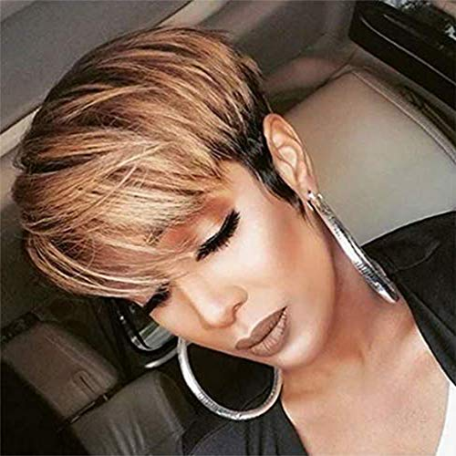 Straight Pixie Cut Wigs with Bang Brazilian unprocessed Human Hair Wigs For Black Women Mix Color Short Human Hair Wig (OT30)