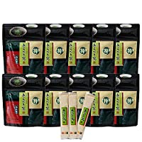 あらびき茶30g×10袋・スティック2g3包入|粉末緑茶・鹿児島茶|非売品一煎パック付(深蒸し茶)