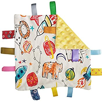 Tags Blanket Tag Comforter Security Blankets with Colorful Tags Infants Toddlers Plush Taggie Blanket Newborn Baby Gift,Yellow Comforter Blanket