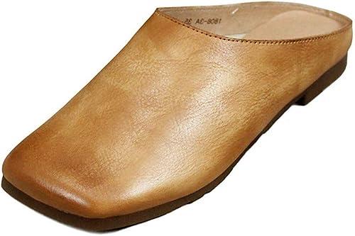 JLCP Sabots Mules Femme, été Rétro Travail Manuel Première Couche de Peau de Vache Sandales Fond Mou Antidérapant Loisirs et Confort Chaussures de Plage,40