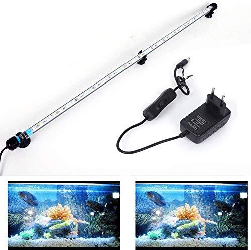 SolarNovo 18-112cm LED Aquarium-Licht Unterwasser BeleuchtungAufsatzleuchte Abdeckung Wasserdicht Lampe Stecker EU für Fisch Tank mit Fernbedienung RGB Farbwechsel (1.8 * 71cm, Weiß & Blau)
