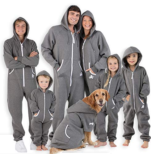 "Joggies - Family Matching Rock Gray Hoodie Onesies for Boys, Girls, Men, Women and Pets - Adult - Large (Fits 6'0-6'4"")"