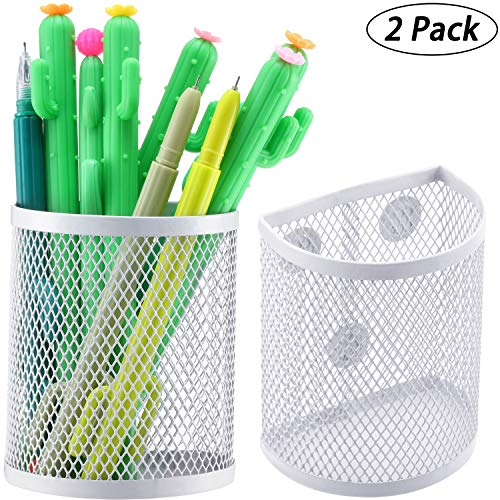 Magnetic Pencil Holder, Mesh Storage Baskets with Magnets, White Magnetic Storage Basket Organizer for Refrigerator Whiteboard Locker Pen and Writing Accessories (2)