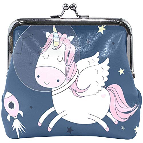 Cute Cartoon Space Unicorn Wallet Coin Purses Vintage Pouch Fashion PU Leather Money Card Holder for Women Girls Teen Kids