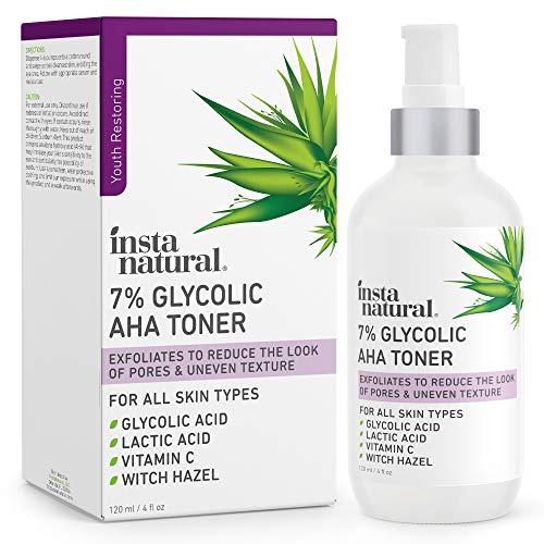 Glycolic Acid Toner 7% with Vitamin C - Pore Minimizer, Blackhead & Brightening Treatment - AHA Exfoliating Astringent - Skin Hydrating Glow Tonic for Face - Lactic Acid, Alpha Hydroxy Acid