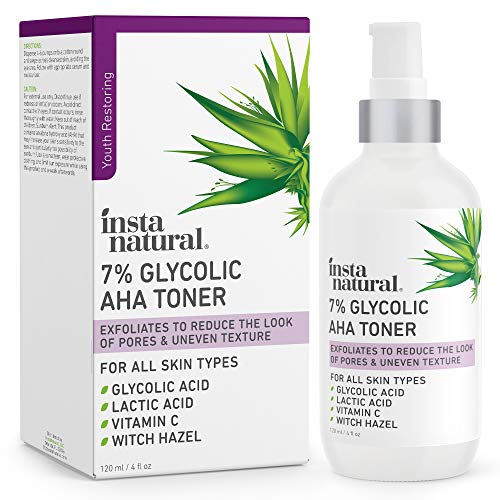 Glycolic Acid Toner 7% with Vitamin C - Pore Minimizer, Blackhead & Brightening Treatment - AHA Exfoliating Astringent - Skin Hydrating Glow Tonic for Face - Lactic Acid, Alpha Hydroxy Acid