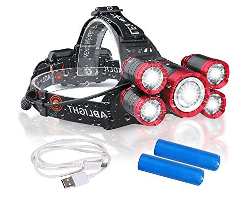LEDヘッドライト 18000ルーメン USB充電式 センサー 電気出力 4モード 高輝度LED 5眼ライト 作業灯 登山 釣り ランニング 夜釣り キャンプ ヘルメットライト ランタン PSE認証 18650リチウムイオン蓄電池 2本付属