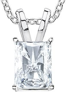 1/2-3 Carat 14K White Gold GIA Certified Radiant Cut Diamond Pendant Necklace Ultra Premium Collection (H-I Color, VS1-VS2 Clarity)