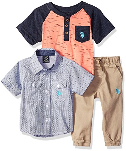 U.S. Polo Assn. Baby Boy's T-Shirt, Sport Shirt and Pant Set Pants, Coral Henley Multi Plaid, 12M
