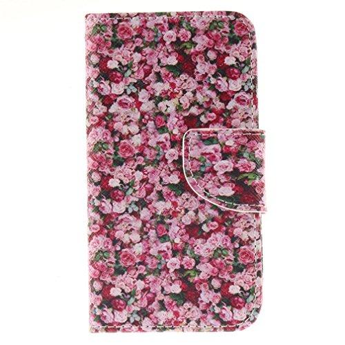 KATUMO®Schutzhülle für Nokia Lumia 630 (4.5 Zoll), PU-Leder, Wallet Case für Nokia Lumia 630 / 635 Cover mit Standfunktion, Magnetverschluss, Rot Blume