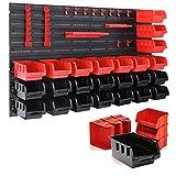 wolketon Wandregal mit Stapelboxen und Werkzeughalter 45 TLG Box Erweiterbar, Werkstattregal...