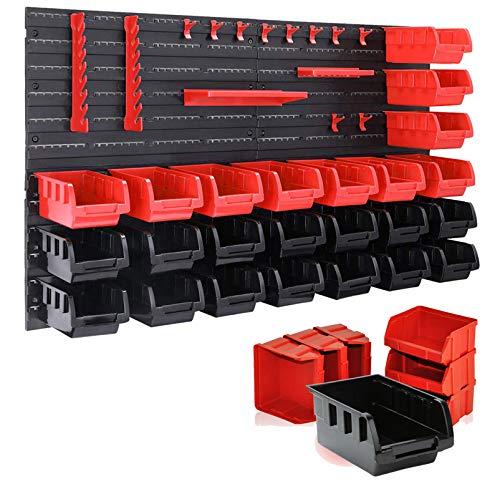 wolketon Wandregal mit Stapelboxen und Werkzeughalter 45 TLG Box Erweiterbar, Werkstattregal Lagerregal Steckregal Set Box, Schüttenregal, Extra Starke, Erweiterbar, Hängeregal, Kleinteilemagazin