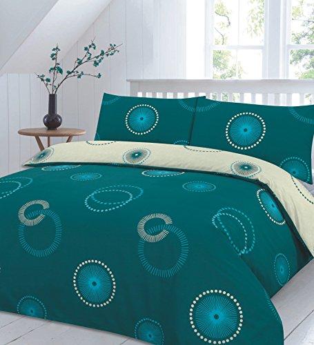 Eden Circles Printed Design Luxurious Duvet Cover Sets Quilt Cover Sets Reversible Bedding Sets NZ (Teal, King)