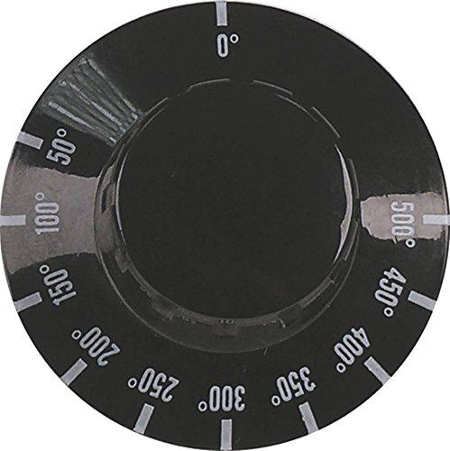 Moretti Knebel für Pizzaofen KR 66, KR 6, KR 4, KR 44 für Thermostat ø 50mm Symbol 50-500°C für Achse ø 6x4,6mm schwarz