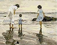 キャンバス上のナンバーキットによる絵画、ビーチで遊ぶ青い海辺の子供たち大人のための40x50cmのキャンバス油絵キット、絵筆で絵を描く、アクリル絵の具
