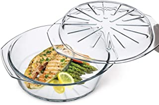 Simax Clear Glass Round Baking Dish | With Lid – Raised Ridges for Fat Free Cooking – Durable Borosilicate Glass – Microwa...
