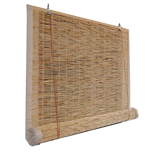 LBYDXD Persianas Enrollables De Bambú Retro Natural, Persianas De Caña, Aislamiento Térmico/Transpirables/Naturales, Cortinas Opacas con Polea, Tamaño Personalizable