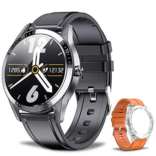 Smartwatch Fitness Armbanduhr für Herren, 1,3 Zoll Sportuhr mit Eingebautem Lautsprecher und Mikrofon, IP68 Wasserdicht Smartwatch mit Herzfrequenzmesser, Schlafmonitor, Smart Watch für Android iOS