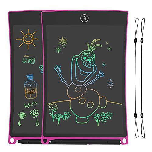 2 Pack Tabletas de Escritura LCD 8.5 Pulgadas, Tablet para Dibujo Niños con Llneas de Colores Brillantes, Excelente Pizarra Digital, perfecta como Fantastic Pad Juguetes Educativos para Niños.