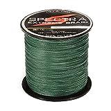 Línea de pesca trenzada de DishyKooker 100% PE plástico resistente a la abrasión líneas trenzadas de alto rendimiento hilo pesca de 20 libras de prueba musgo 500 m de longitud verde negruzco 0,23 mm