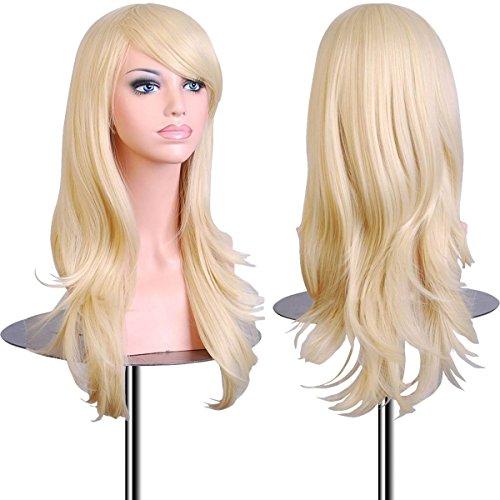 EmaxDesign 70 cm haute qualité Perruque Cosplay Pour femmes Long Complète bouclé ondulé Chaleur résistant Mode Glamour perruque avec Free Bonnet Perruque & Peigne De Perruque (Couleur: Blond clair)