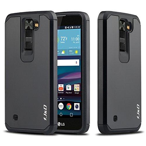 J&D Case Compatible for LG Phoenix 2 / LG Escapte 3 / LG K8 2016 Case, Heavy Duty [Dual Layer] Hybrid Shock Proof Protective Rugged Bumper Case for LG Phoenix 2, LG Escapte 3, LG K8 2016 Case - Black