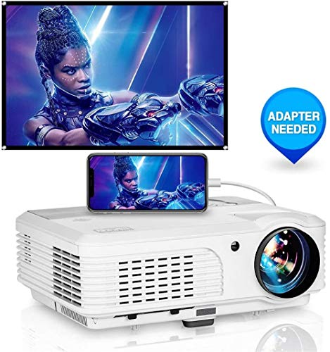 WIKISH Hd Projector for Outdoor Movie,Usb Projector Support Full HD 1080p Zoom Compatible with Dvd Player Fire Tv Stick Laptop Smart Phone Hdmi Rca