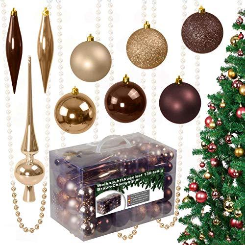 130-teiliges Weihnachtskugeln Set aus Kunststoff - Christbaumschmuck Baumschmuck in Glänzend Glitzernd Matt, braun/Champagner