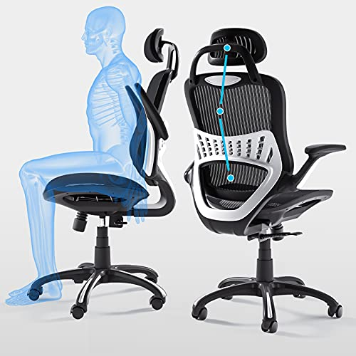 Ergonomic Office Chair High Back Adjustable Height Rolling Swivel Computer Task Chair Reclining Breathable High-Density Mesh Desk Chair with Flip-Up Armrest Rotate Headrest Back Support,Black(300lbs)