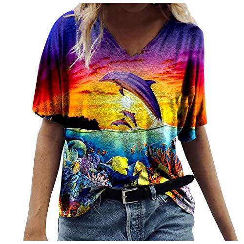 Higlles T-Shirt Damen Blusen Tops Loose Hemd Sweatshirt Langarmshirts Beste Freunde Pullover für Mädchen Frauen Kleider Bedrucktes Lässige Mode Loose V-Ausschnitt Marine Animal Print Kurzarm Tops