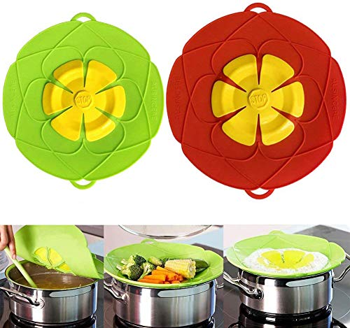 AUSINCERE Spill Stopper Lid Cover,Anti Spill Lid Cover,No Boil Over Lid,Pot Cover Silicone Spill Stopper Lid,Boil Over Safeguard, 11inch and 10.2inch Multi-Function Kitchen Tool