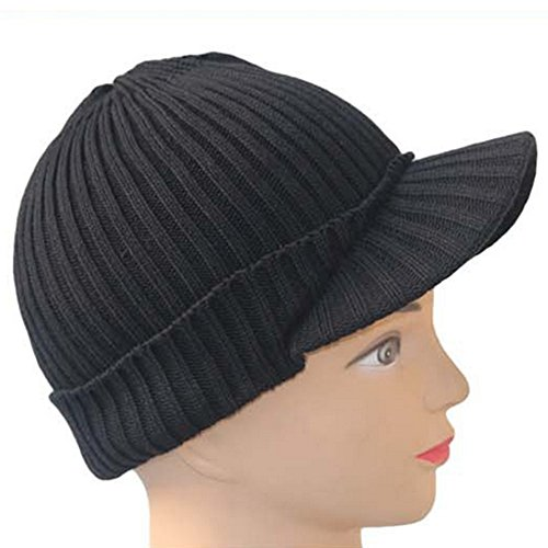 beetest Femme Automne Hiver Chaud Acrylique fibres Floral tricot visière Casquettes Chapeaux #2 Nero