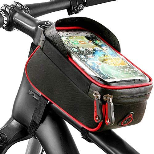QoFina Soporte para teléfono Celular para Bicicleta Bolsa Impermeable para Manillar de Bicicleta Soporte para Bicicleta para teléfono móvil Bolsa para Bicicleta MTB - para teléfono Celular GPS Navi