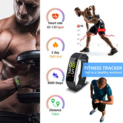 Mgaolo Fitness Tracker,2020 Version IP68 Waterproof Activity Tracker with Blood Pressure Heart Rate Sleep Monitor,10 Sport Health Fit Smart Watch with Pedometer for Fitbit Bit Men Women Kids (Black) 3