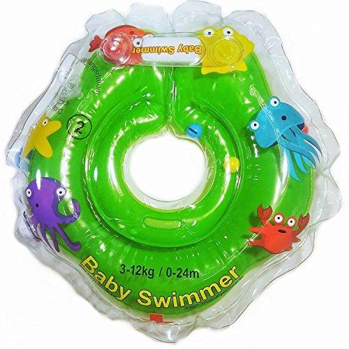 Babyswimmer Tüv GS - Giubbotto ad anello, taglia 3 – 12 kg (0 – 24 mesi), aiuto per il nuoto per il bagnetto, anello galleggiante, piccolo verde