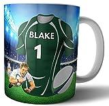 Cadeau personnalisé Rugby – Tasse à thé – Thème T-shirt – Couleurs irlandaises de Londres