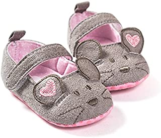 FemmeStopper Cute Baby Girls Shoes First Walkers Cotton Grey Cartoon Mouse Soft Sole Baby Prewalkers Baby Shoe