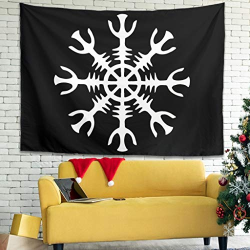 Tapiz de pared con diseño de casco vikingo Odin del terror islandés, 150 x 130 cm, color blanco