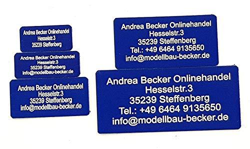 Andrea Becker Onlinehandel Adressschild / Drohnen Plakette / Drohnen Kennzeichen / Multicopter Kennzeichnung / Namensschild / Schilder mit hochwertiger Lasergravur (40x20mm, blau)