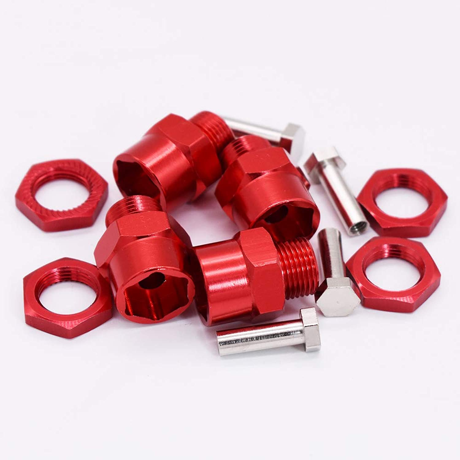 Generic 4pcs Red Aluminum 12mm to 17mm Wheel Hex Combiner Adapter Extension 15mm for 1 10 RC Model Car Spare Part