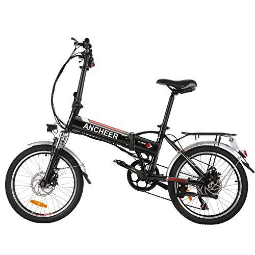 BIKFUN Bicicletta Elettrica Pieghevole, Bici Elettriche 20', Motore 250W Batteria 36V 8Ah, Shimano a 7 velocità (Bianco)