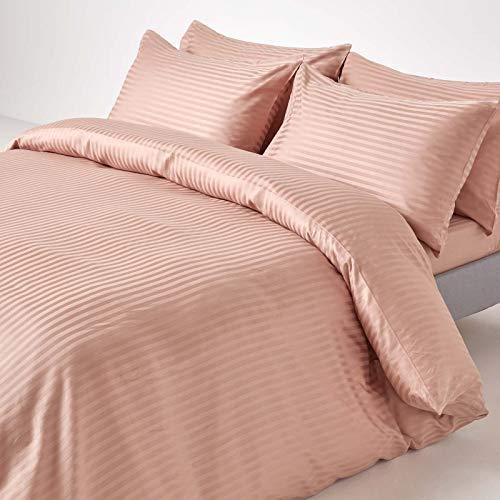 Homescapes 3-teiliges Bettwäsche-Set, Bettbezug 230 x 220 cm mit 2 Kissenbezügen 48 x 74 cm, 100% ägyptische Baumwolle mit Satin-Streifen, Fadendichte 330, Taupe/beige