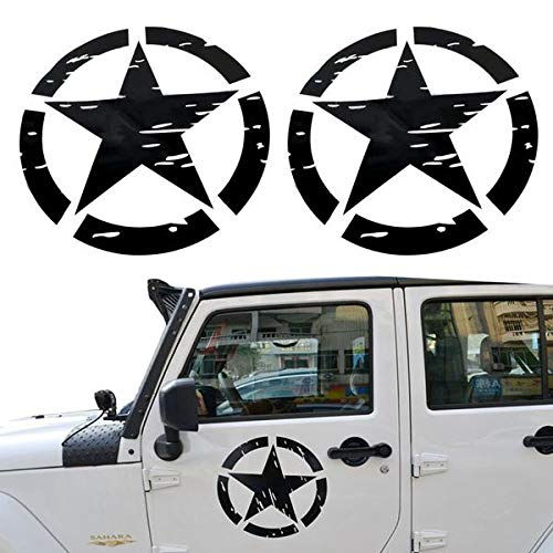 Army Style Black Star Logo Doors Decal Sticker Kit for Jeep Wrangler