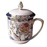 LYUN Tazas Taza de impresión Vintage con Tapa, Hueso China Taza de café Pintada de Oro Pintada de Oro, Taza de café Retro Europea para Leche de café de café Azul-Azul Tazas Decorar (Color : Blue)